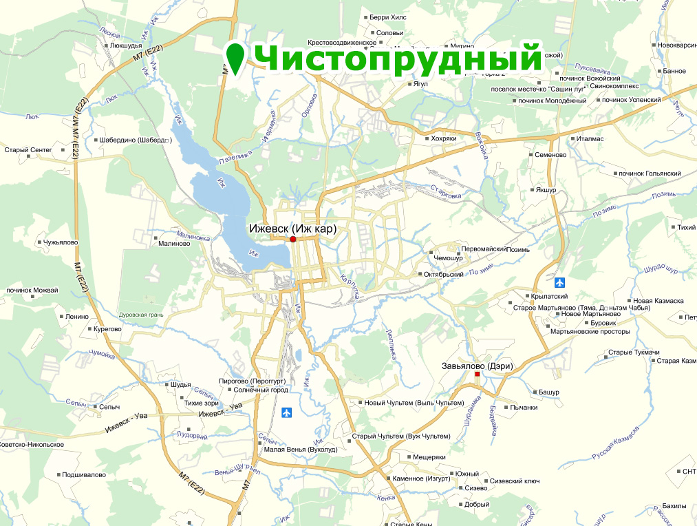 Чистопрудный на карте Ижевска